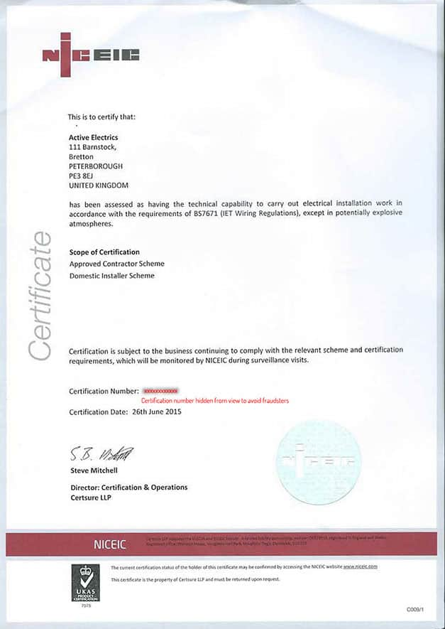 NICEIC Qualified Certification Certificate