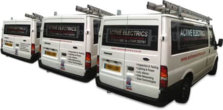 Work Van with Active Electrics logo on site